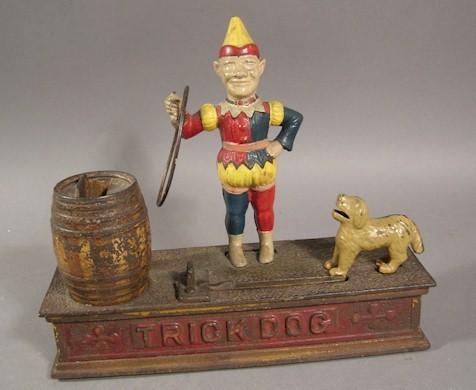 Cast Iron Mecanical Toy Bank Trick Dog